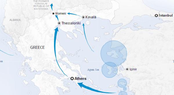 """L'Egeo, poi Idomeni: per tanti la """"rotta balcanica"""" oggi finisce qui (mappa UNHCR, marzo 2016)."""