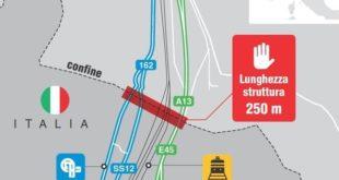 """Il progetto di barriera """"anti-migranti"""" dell'Austria al Brennero in una cartina pubblicata sul sito dell'ANSA."""