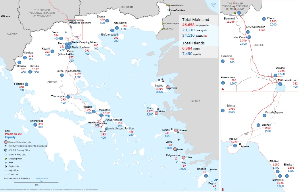 Cliccare per ingrandire: Grecia, la mappa dei centri di accoglienza, detenzione e insediamento di migranti al 6 aprile (fonte UNHCR).
