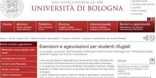Esenzioni e agevolazioni per studenti rifugiati - sito dell'Università di Bologna