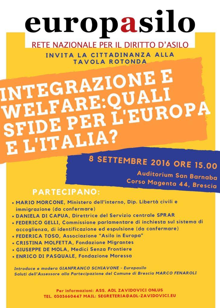 Evento EuropAsilo 8 settembre a Brescia