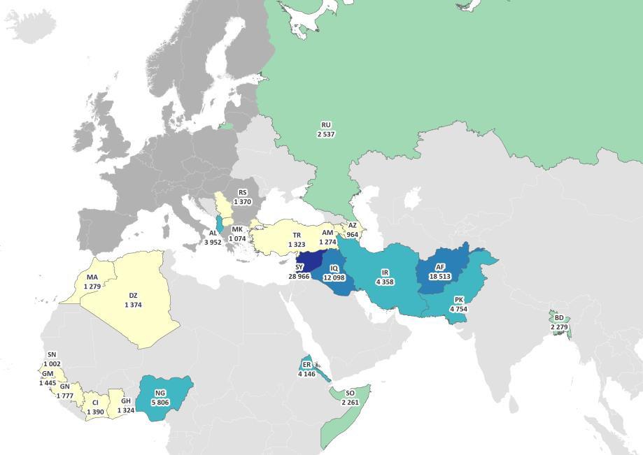 """Cliccare per ingrandire: i richiedenti asilo nell' """"UE +"""" a settembre, per i principali Paesi di provenienza (valori assoluti, fonte EASO novembre 2019)."""